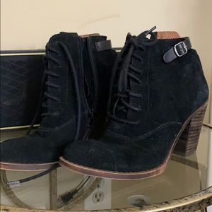 Lucky Brand black lace up booties
